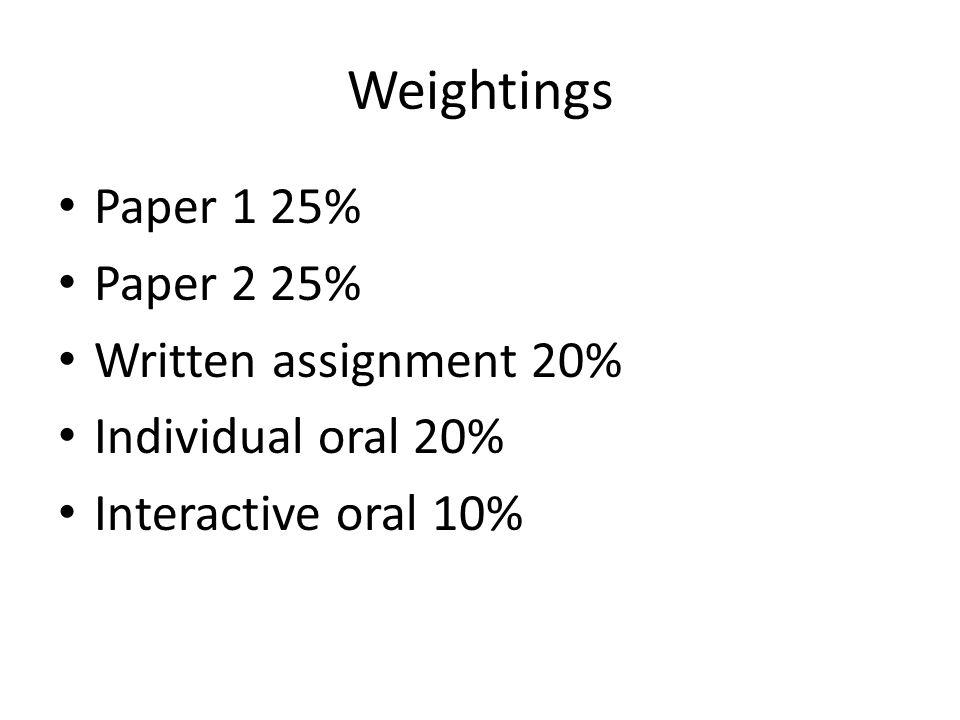 Weightings Paper 1 25% Paper 2 25% Written assignment 20%