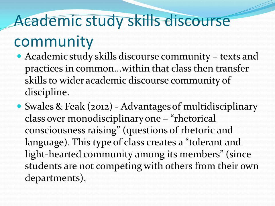 Academic study skills discourse community