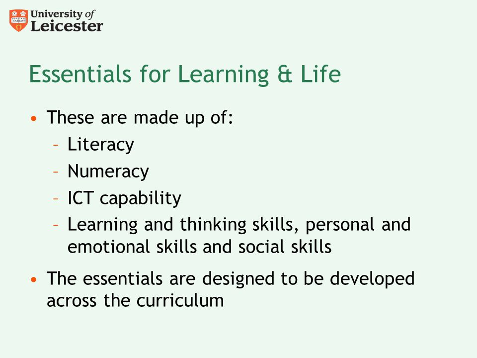 Essentials for Learning & Life
