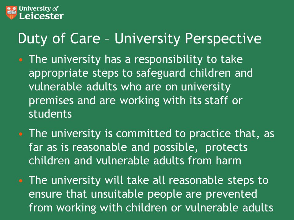 Duty of Care – University Perspective