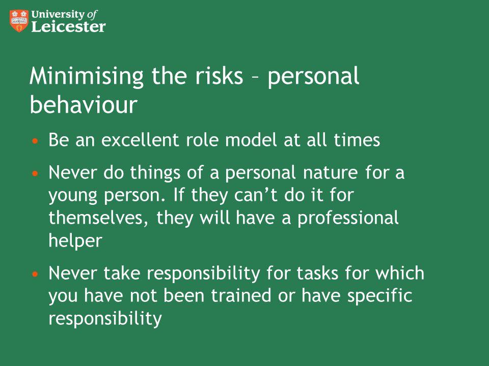 Minimising the risks – personal behaviour