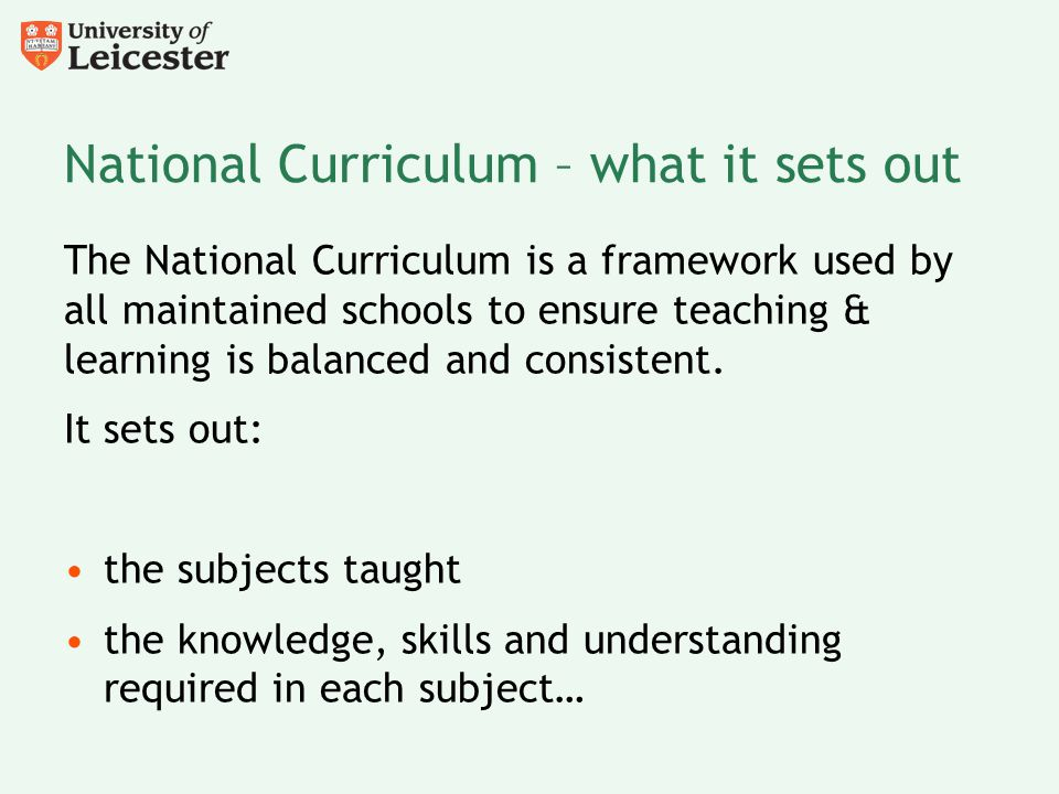 National Curriculum – what it sets out