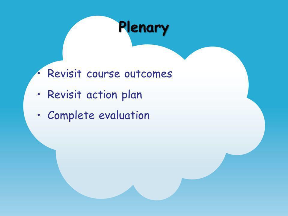 Plenary Revisit course outcomes Revisit action plan