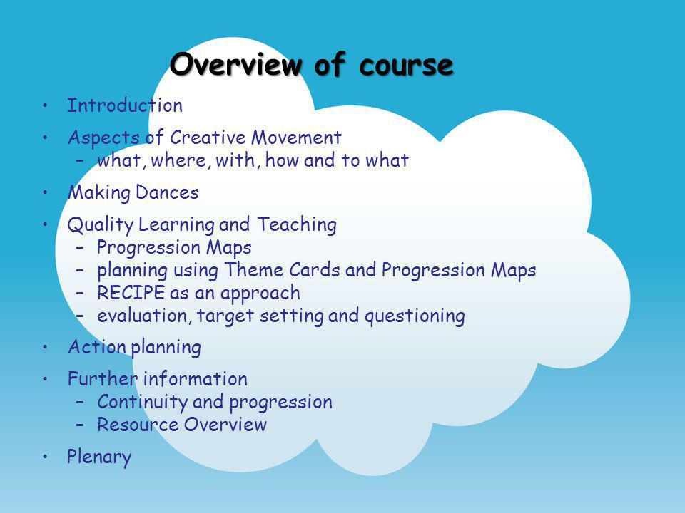 Overview of course Introduction Aspects of Creative Movement
