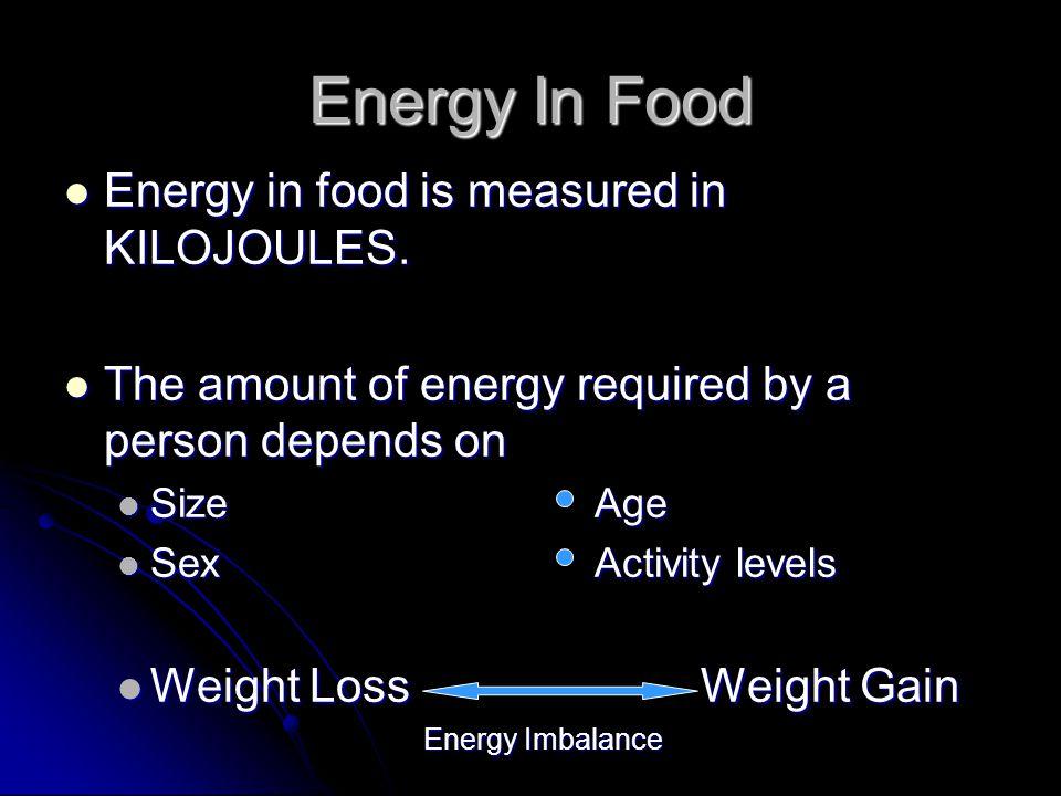 Energy In Food Energy in food is measured in KILOJOULES.
