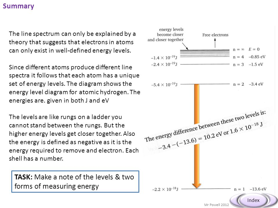 TASK: Make a note of the levels & two forms of measuring energy