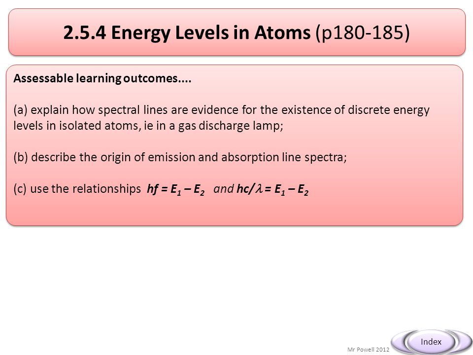 2.5.4 Energy Levels in Atoms (p180-185)