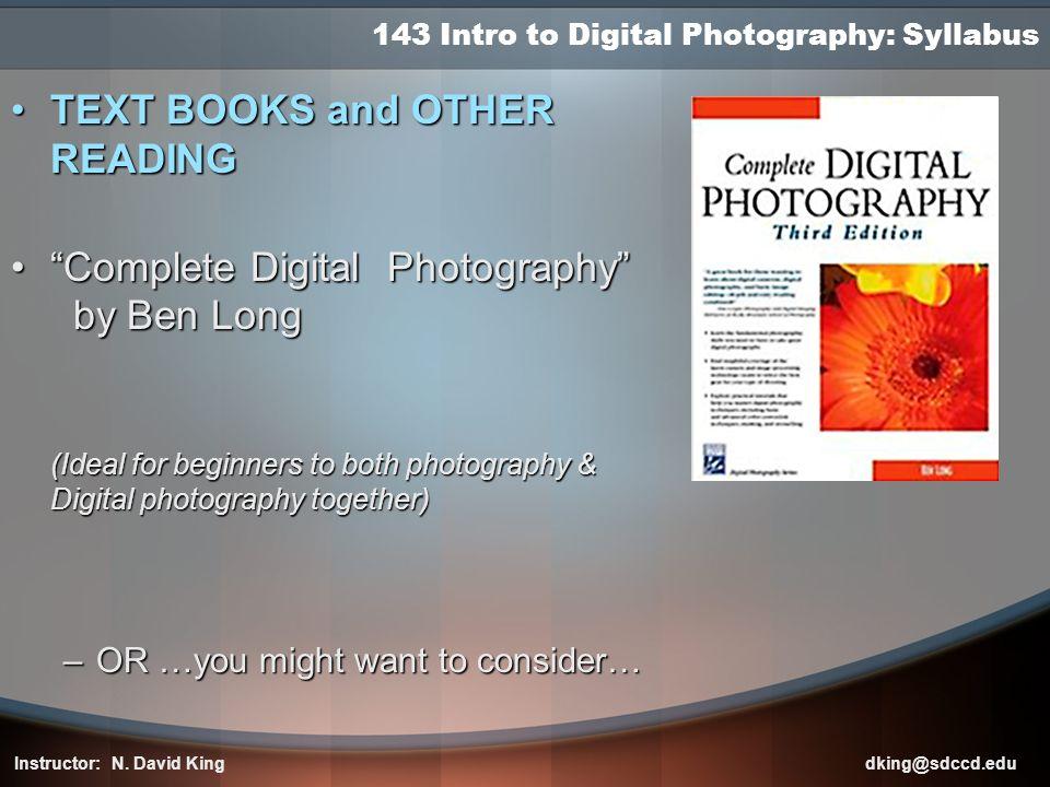 143 Intro to Digital Photography: Syllabus