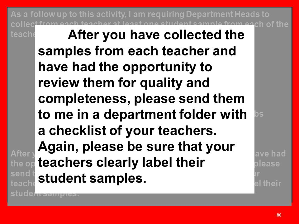 As a follow up to this activity, I am requiring Department Heads to collect from each teacher at least one student sample from each of the teachers' classes. The student samples should include: