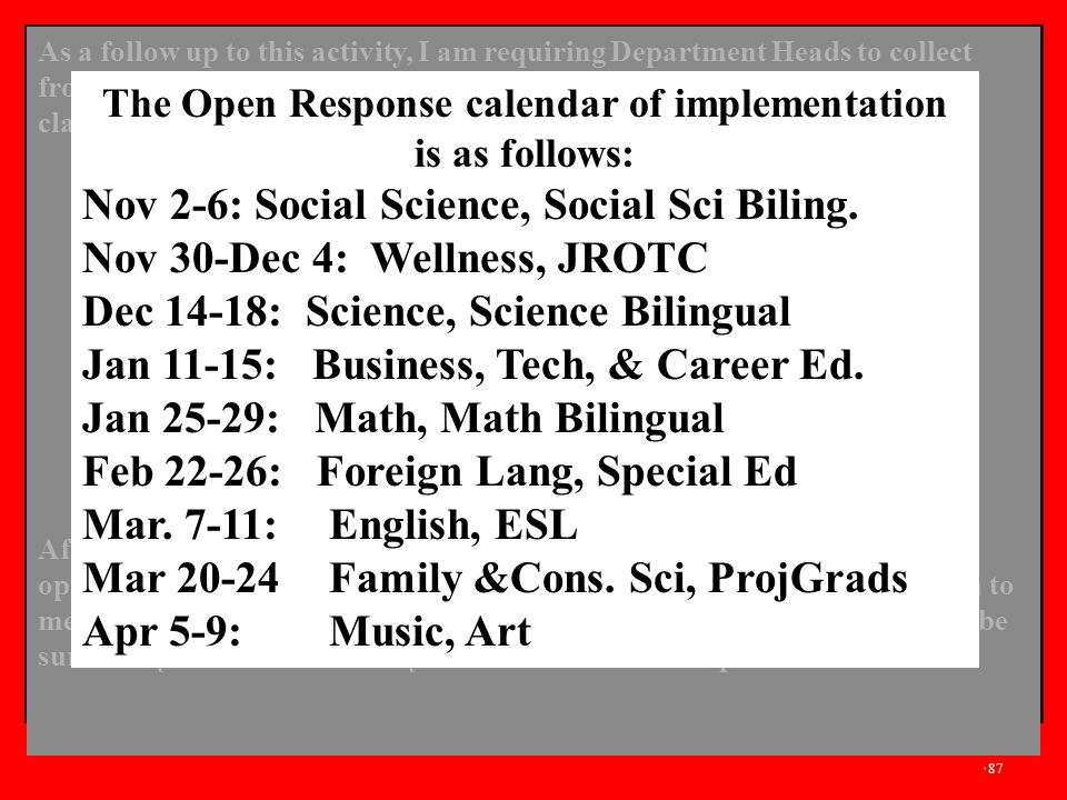 The Open Response calendar of implementation is as follows: