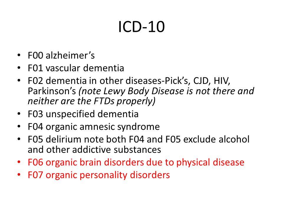 ICD-10 F00 alzheimer's F01 vascular dementia