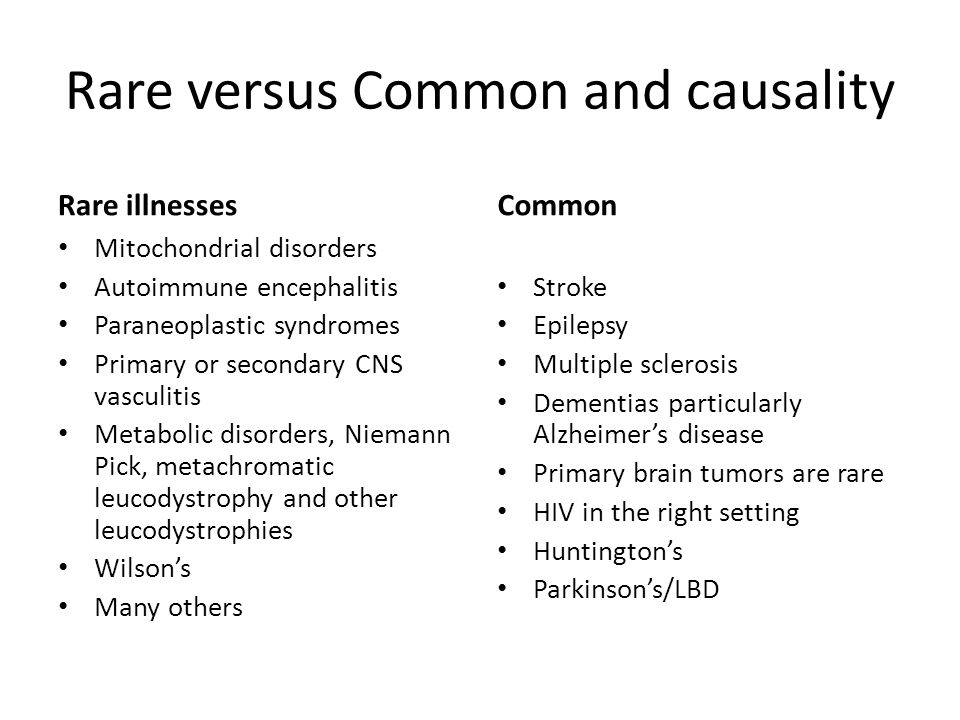 Rare versus Common and causality