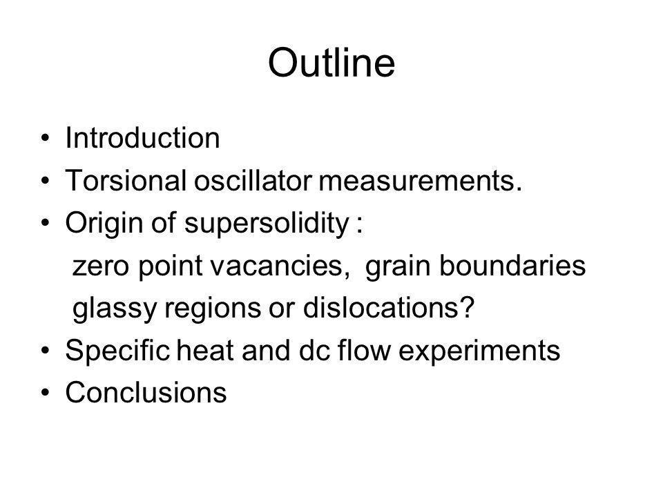 Outline Introduction Torsional oscillator measurements.