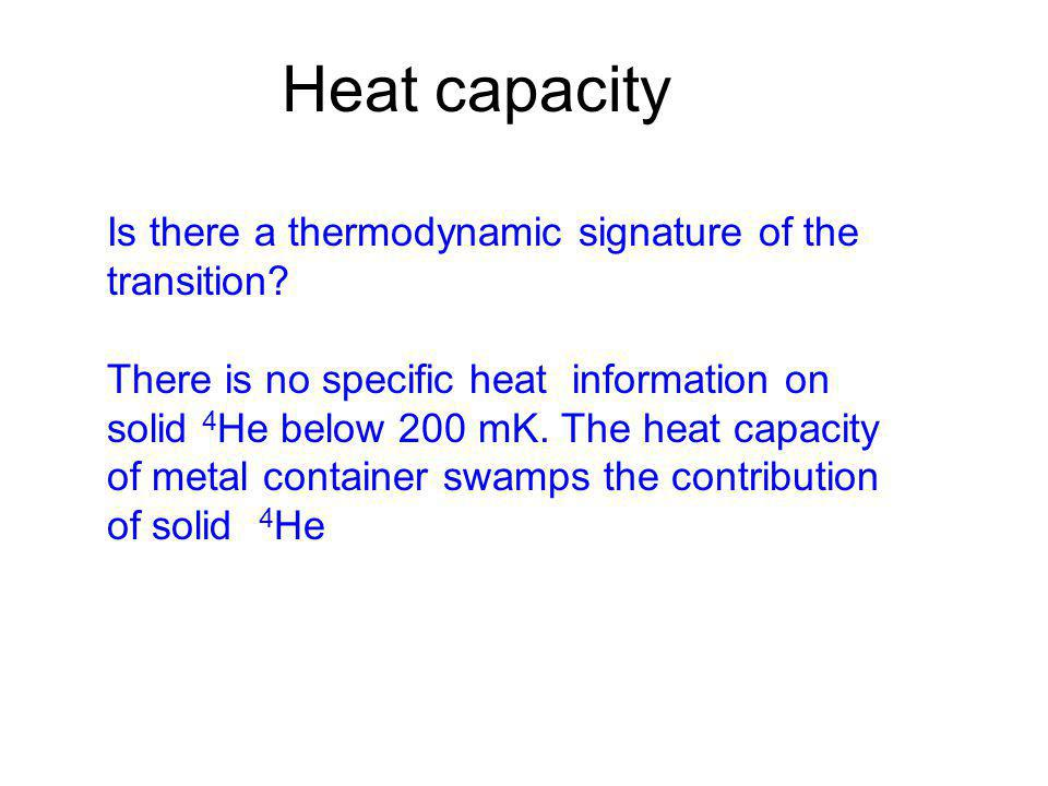 Heat capacity Is there a thermodynamic signature of the transition