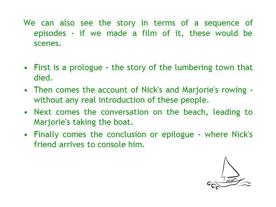 We can also see the story in terms of a sequence of episodes - if we made a film of it, these would be scenes.