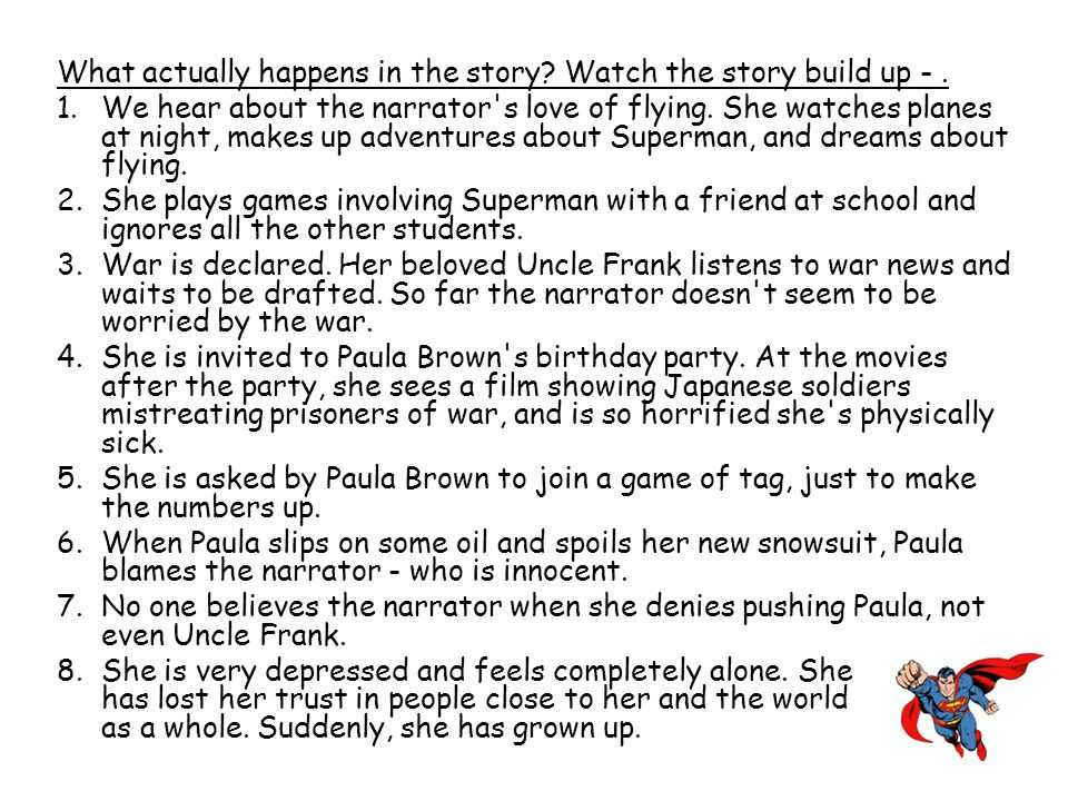 What actually happens in the story Watch the story build up - .