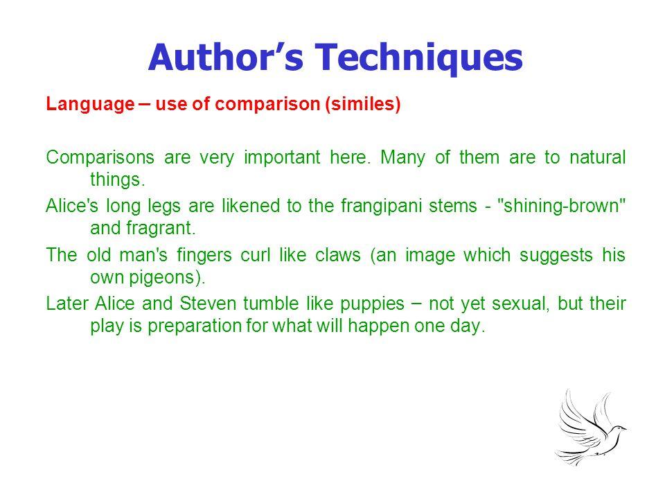 Author's Techniques Language – use of comparison (similes)