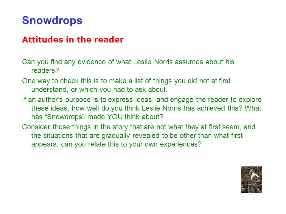 Snowdrops Attitudes in the reader