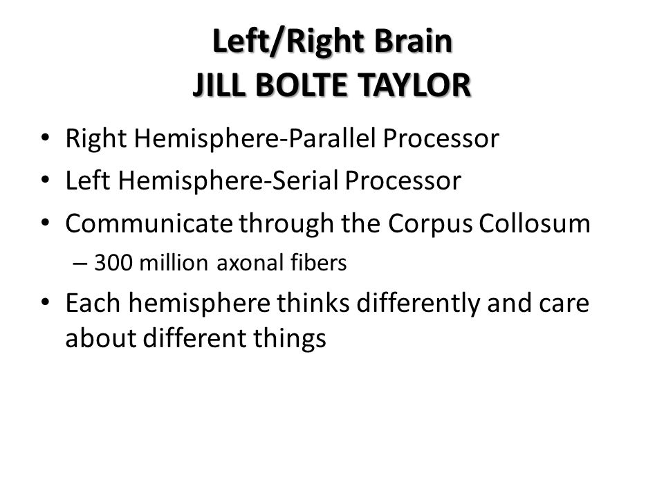 Left/Right Brain JILL BOLTE TAYLOR