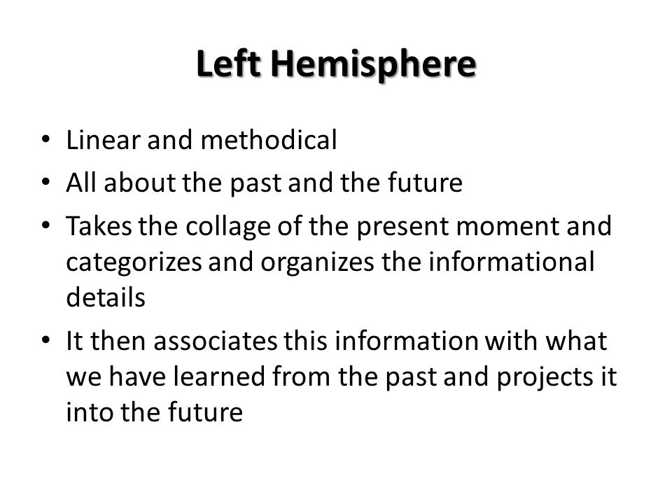 Left Hemisphere Linear and methodical