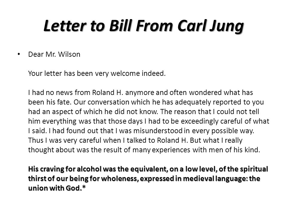 Letter to Bill From Carl Jung