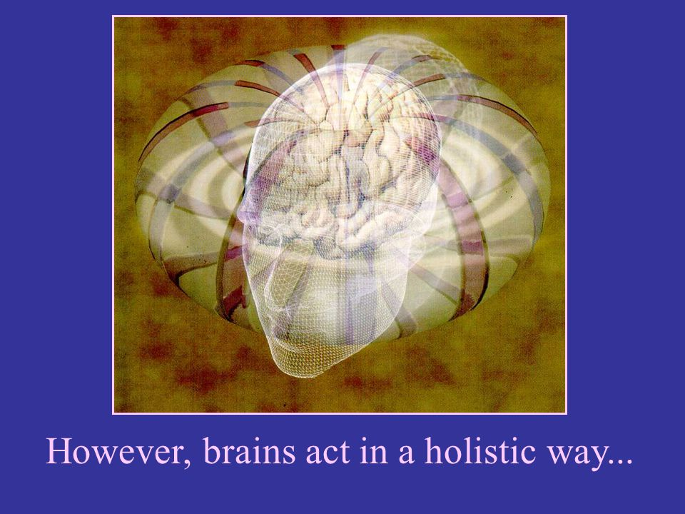 However, brains act in a holistic way...