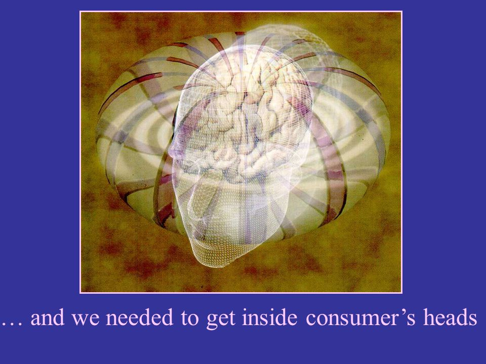 … and we needed to get inside consumer's heads