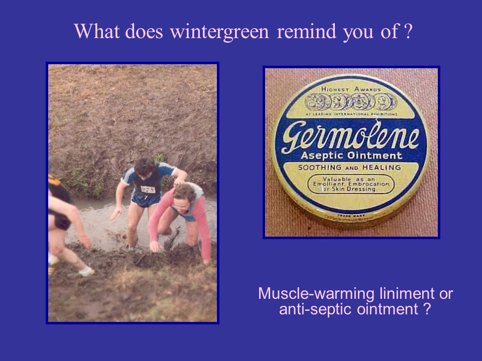 Muscle-warming liniment or anti-septic ointment