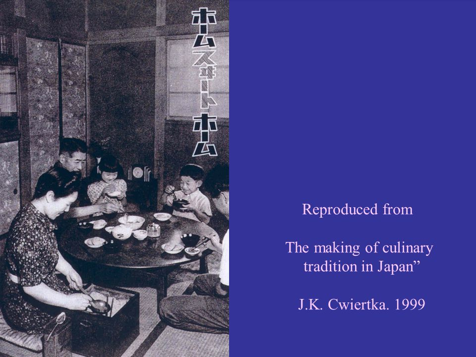 Reproduced from The making of culinary tradition in Japan J.K. Cwiertka. 1999