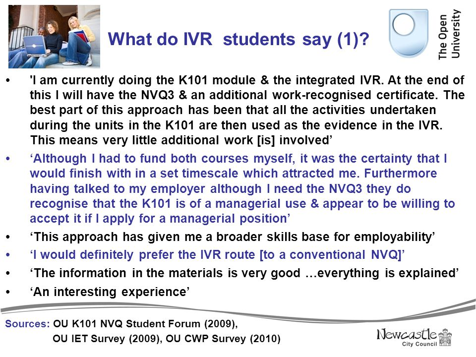 What do IVR students say (1)