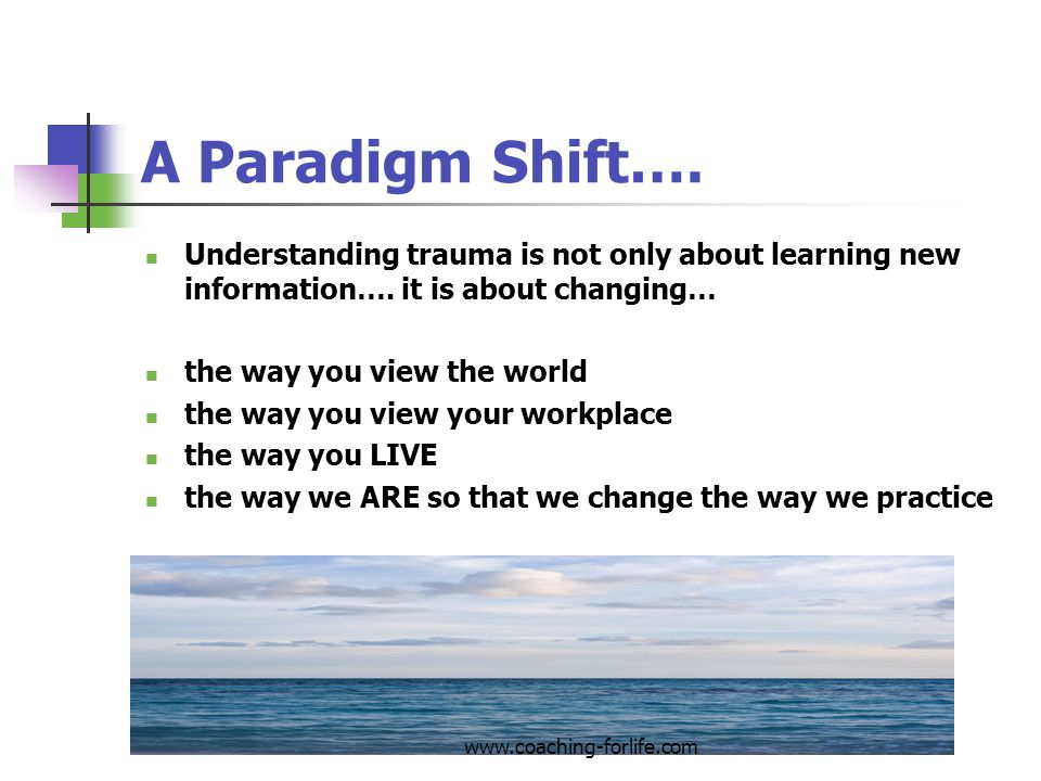 A Paradigm Shift…. Understanding trauma is not only about learning new information…. it is about changing…