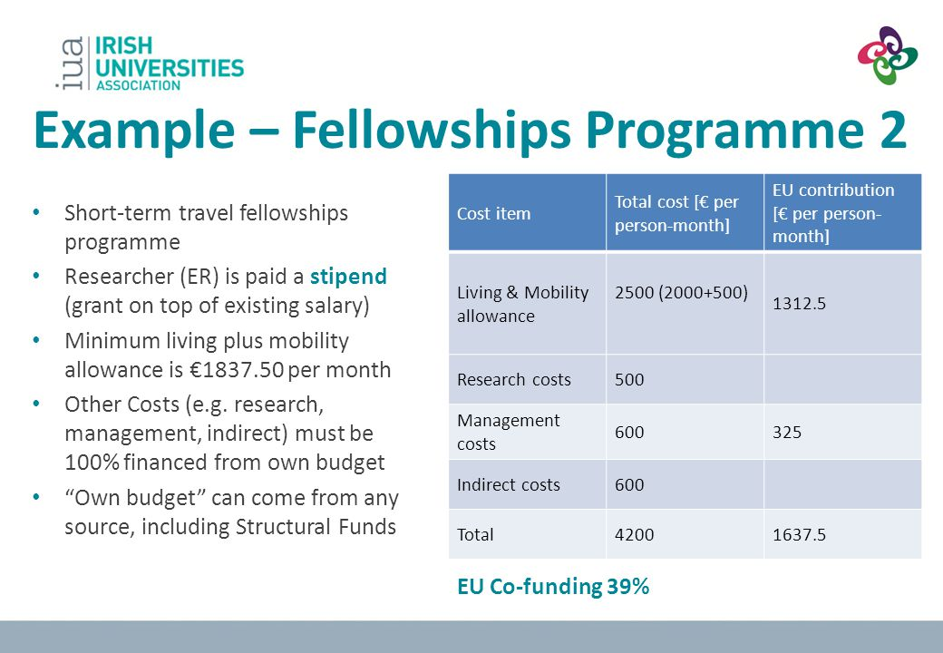 Example – Fellowships Programme 2