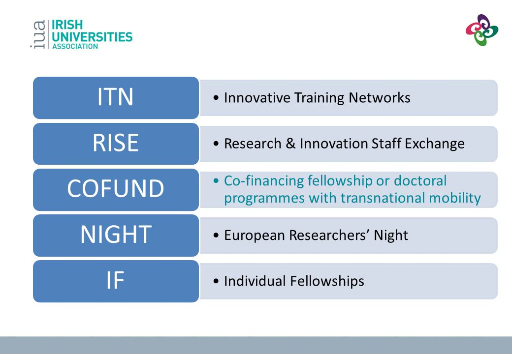 ITN Innovative Training Networks. RISE. Research & Innovation Staff Exchange. COFUND.