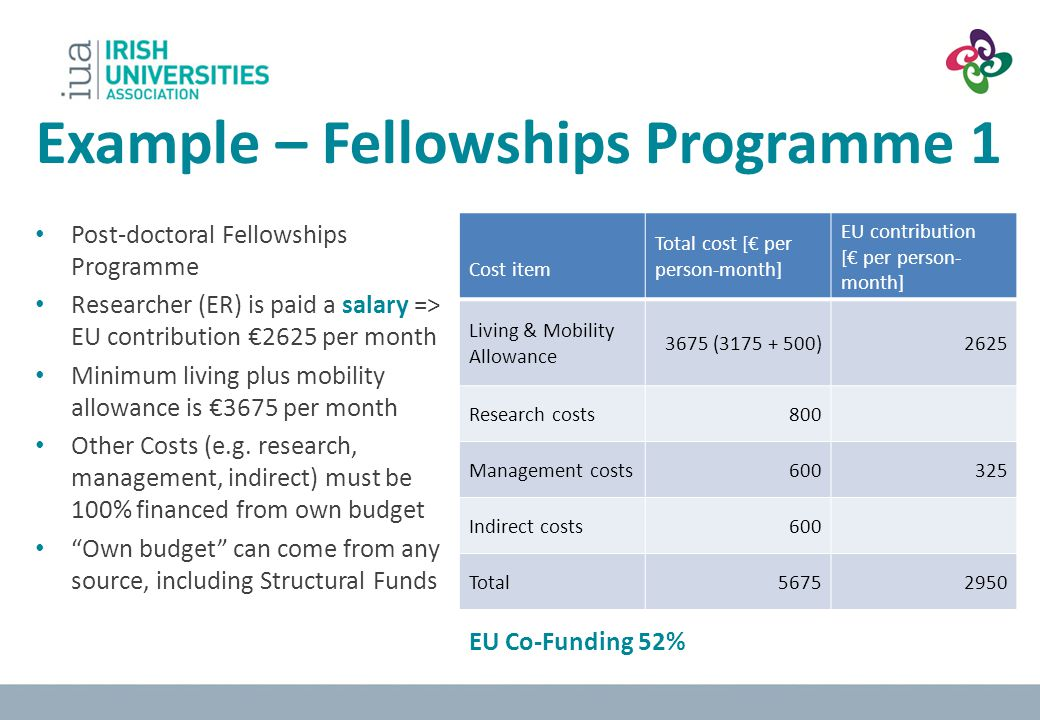 Example – Fellowships Programme 1