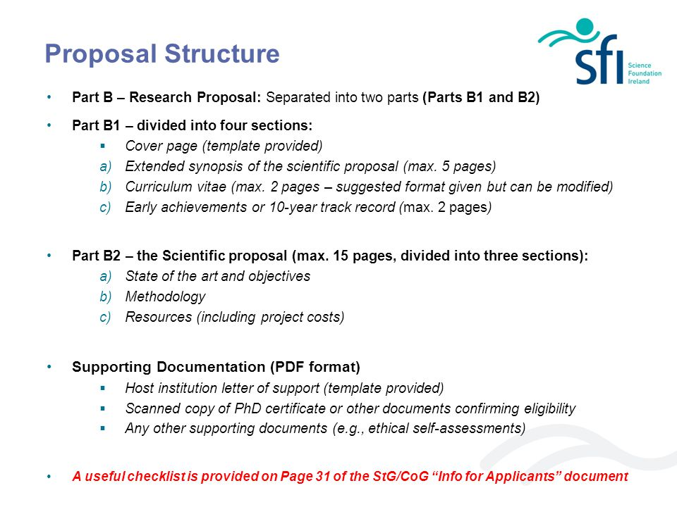 Proposal Structure Supporting Documentation (PDF format)