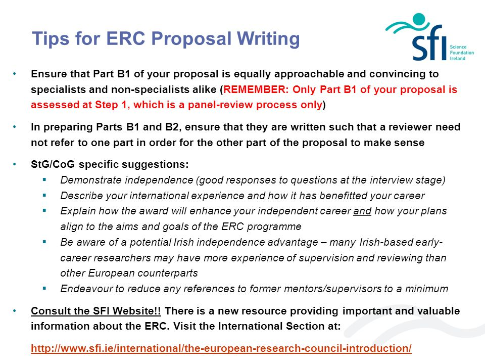 Tips for ERC Proposal Writing