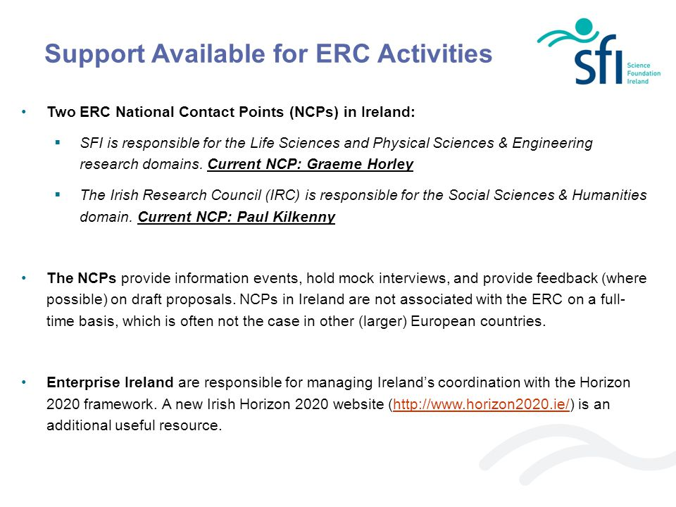 Support Available for ERC Activities