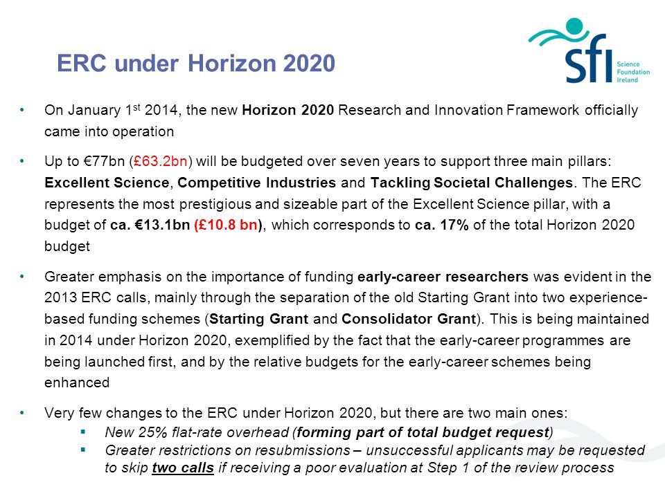 ERC under Horizon 2020 On January 1st 2014, the new Horizon 2020 Research and Innovation Framework officially came into operation.