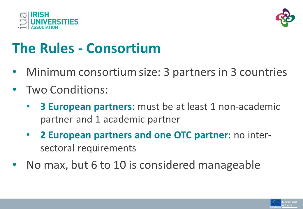 The Rules - Consortium Minimum consortium size: 3 partners in 3 countries. Two Conditions: