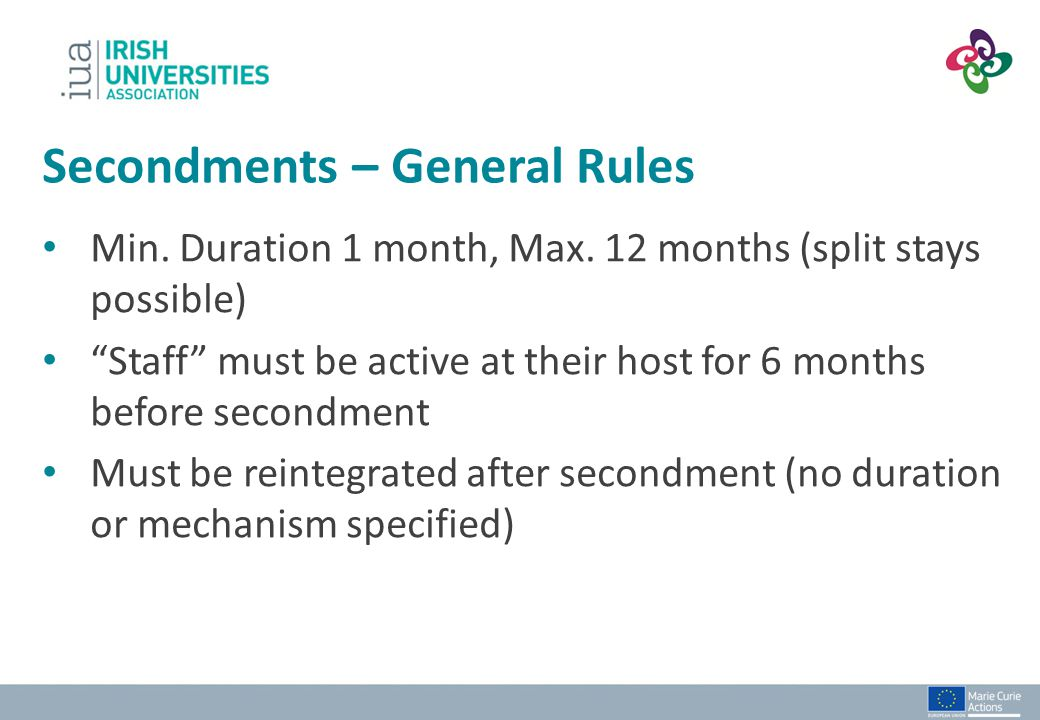 Secondments – General Rules