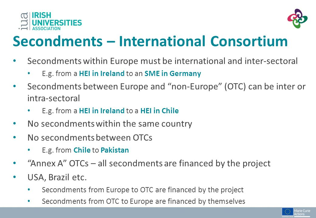 Secondments – International Consortium