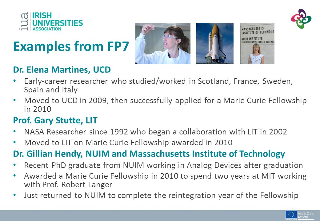 Examples from FP7 Dr. Elena Martines, UCD Prof. Gary Stutte, LIT