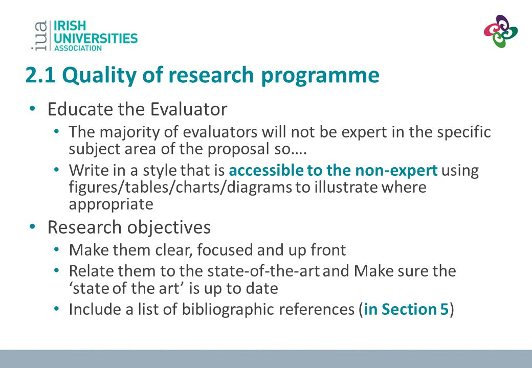 2.1 Quality of research programme
