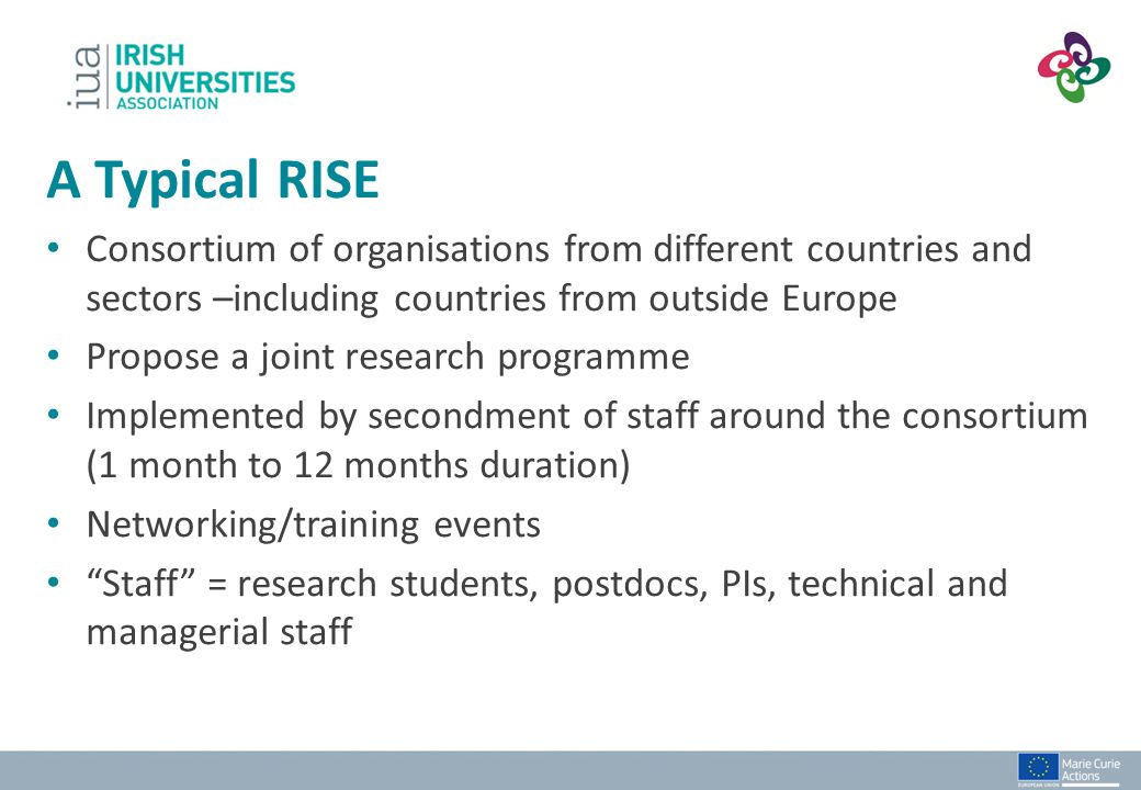 A Typical RISE Consortium of organisations from different countries and sectors –including countries from outside Europe.