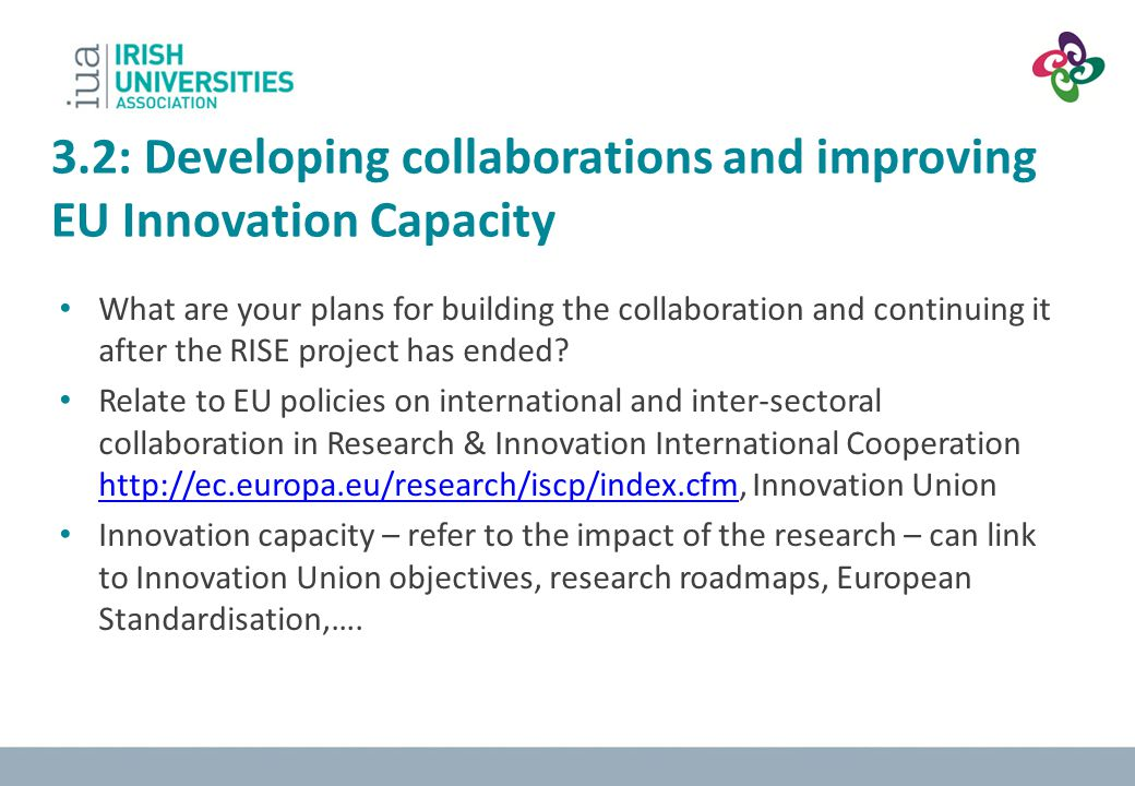 3.2: Developing collaborations and improving EU Innovation Capacity