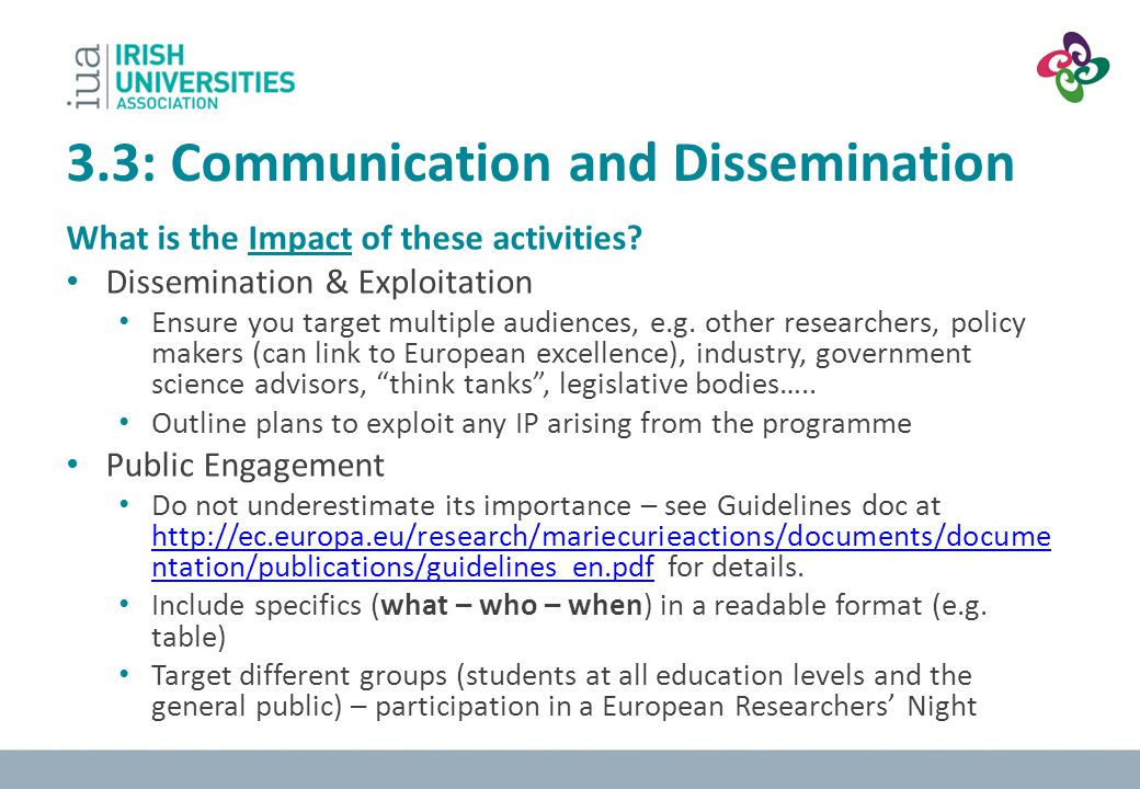 3.3: Communication and Dissemination