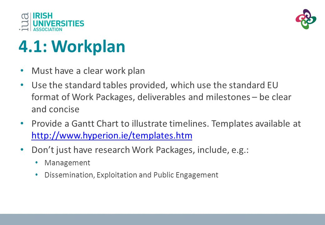 4.1: Workplan Must have a clear work plan