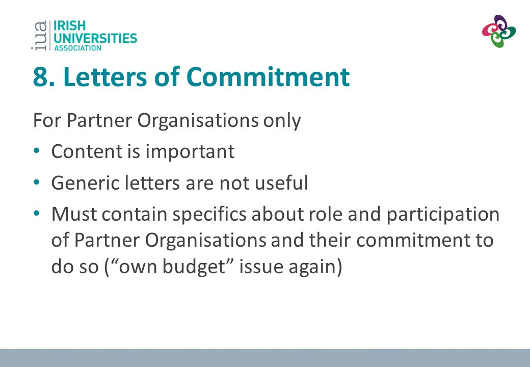 8. Letters of Commitment For Partner Organisations only