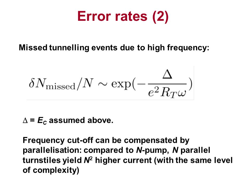 Error rates (2) Missed tunnelling events due to high frequency: