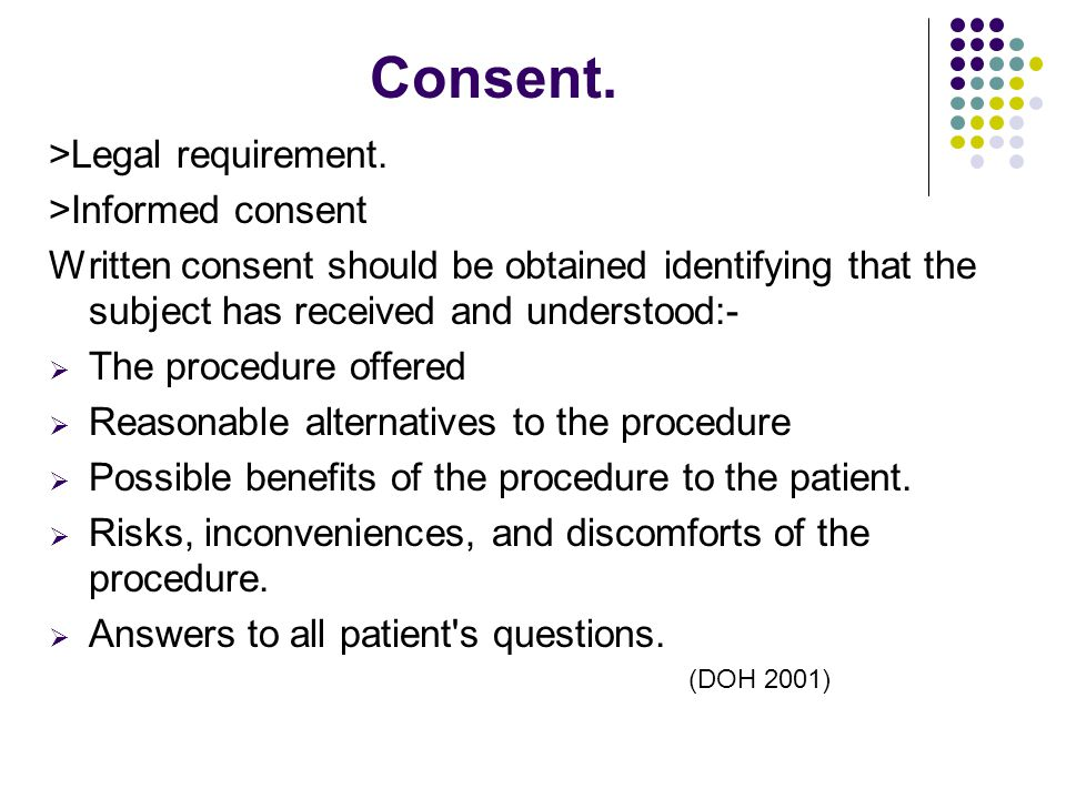 Consent. >Legal requirement. >Informed consent